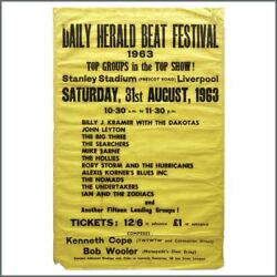 Rory Storm And The Hurricanes 1963 Daily Herald Beat Festival Concert Poster Uk