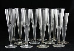 12x Antique Early 19th C. Flute Champagne Glass Ca.1820 Facet Cut Handmade