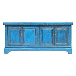 Chinese Distressed Bright Blue Finish High Credenza Console Buffet Table cs5141