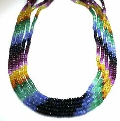Sapphire Necklaces 5 Strands Sapphire And Emerald Beads Beaded Necklace 17 Long