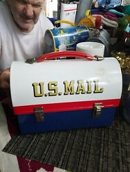Vintage Post Office Red White Blue Dome Lunchbox By Aladdin