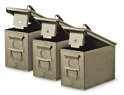 U.S. Military Surplus Waterproof M2A1 .50 Caliber Ammo Can, 3 Pack, Used