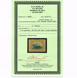 Genuine Scott 299 F-vf Mint Og Nh Cert 1901 Yellow Brown And Black 10andcent Panam Expo