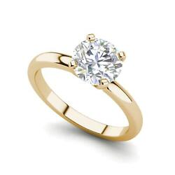 Solitaire 0.9 Carat Vs1/f Round Cut Diamond Engagement Ring Yellow Gold