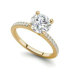 French Pave 1.15 Carat Vs1/f Round Cut Diamond Engagement Ring Yellow Gold