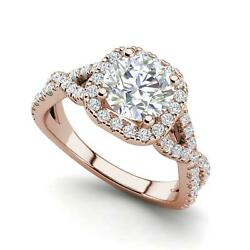 Infinity Halo 2.15 Carat Si1/d Round Cut Diamond Engagement Ring Rose Gold