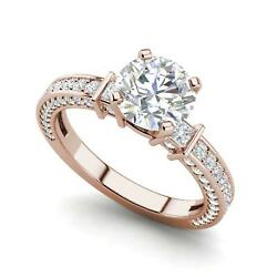 Three Sided Pave 2.35 Carat Si1/f Round Cut Diamond Engagement Ring Rose Gold