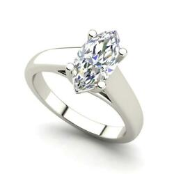 Solitaire 1.25 Carat Vs2/h Marquise Cut Diamond Engagement Ring White Gold