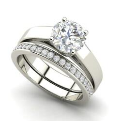 Channel Set 2.75 Carat Si1/d Round Cut Diamond Engagement Ring White Gold