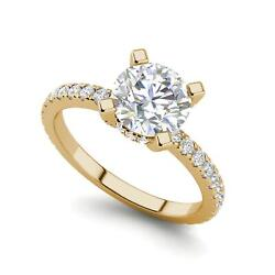 French Pave 1.25 Carat Si1/f Round Cut Diamond Engagement Ring Yellow Gold
