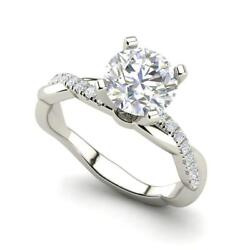 Twist 1.5 Carat Si1/d Round Cut Diamond Engagement Ring White Gold