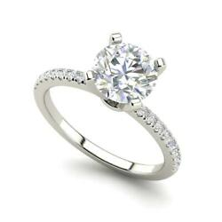 Micropave 1.15 Carat Vs1/d Round Cut Diamond Engagement Ring White Gold
