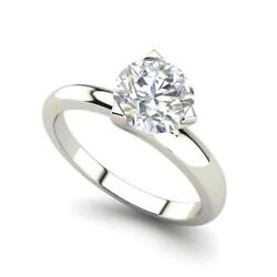 Solitaire 1 Carat Vs1/f Round Cut Diamond Engagement Ring White Gold