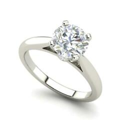 Cathedral Solitaire 1.3 Ct Vs2/h Round Cut Diamond Engagement Ring White Gold