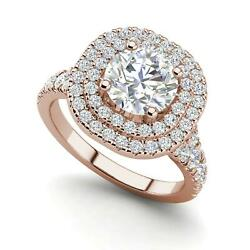 Double Halo 2.25 Carat Si1/d Round Cut Diamond Engagement Ring Rose Gold