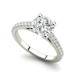 Pave Cathedral 2 Carat Vs2/f Round Cut Diamond Engagement Ring White Gold