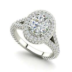 Pave Halo 2.6 Carat Si1/f Oval Cut Diamond Engagement Ring White Gold