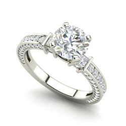 Three Sided Pave 2.35 Carat Si1/f Round Cut Diamond Engagement Ring White Gold