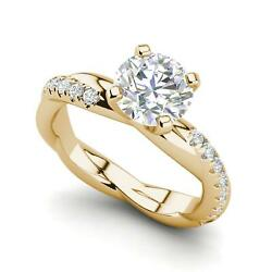 Twist Rope Style 1.75 Carat Si1/d Round Cut Diamond Engagement Ring Yellow Gold