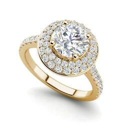 Double Halo 1.45 Carat Si1/d Round Cut Diamond Engagement Ring Yellow Gold