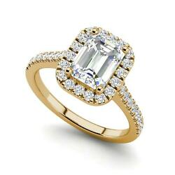 Halo Pave 1.5 Carat Si1/d Emerald Cut Diamond Engagement Ring Yellow Gold
