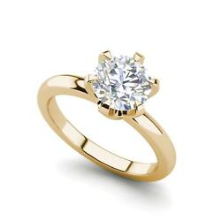 Solitaire 1 Carat Vs1/f Round Cut Diamond Engagement Ring Yellow Gold