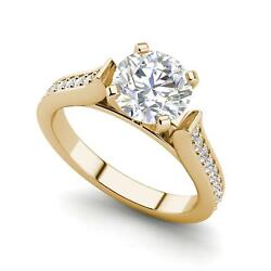 Channel 1.5 Carat Vs2/h Round Cut Diamond Engagement Ring Yellow Gold