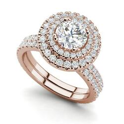 Double Halo 2.65 Carat Si1/f Round Cut Diamond Engagement Ring Rose Gold