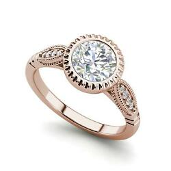 Bazel Shared Prong 1.65 Carat Si1/d Round Cut Diamond Engagement Ring Rose Gold