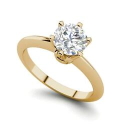 6 Prong Solitaire 0.75 Carat Vs1/d Round Cut Diamond Engagement Ring Yellow Gold