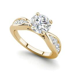 Channel Style 1.2 Carat Vs1/d Round Cut Diamond Engagement Ring Yellow Gold