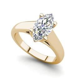 Solitaire 0.75 Carat Vs1/d Marquise Cut Diamond Engagement Ring Yellow Gold