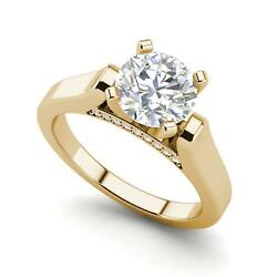 Cathedral Solitaire 2.85 Ct Si1/d Round Cut Diamond Engagement Ring Yellow Gold