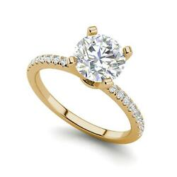 Micropave 1 Carat Vs2/d Round Cut Diamond Engagement Ring Yellow Gold