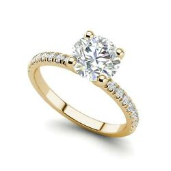 Pave Flush Fit 2.35 Carat Si1/d Round Cut Diamond Engagement Ring Yellow Gold