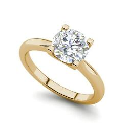 4 Claw Solitaire 1.25 Carat Si1/d Round Cut Diamond Engagement Ring Yellow Gold