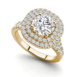 Double Halo 2 Carat Si1/d Round Cut Diamond Engagement Ring Yellow Gold