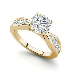 Channel Style 1.1 Carat Vs1/d Round Cut Diamond Engagement Ring Yellow Gold