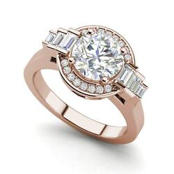 Halo Solitaire 1.05 Carat Vs2/f Round Cut Diamond Engagement Ring Rose Gold