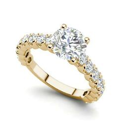 Solitaire 1.6 Carat Vs2/h Round Cut Diamond Engagement Ring Yellow Gold