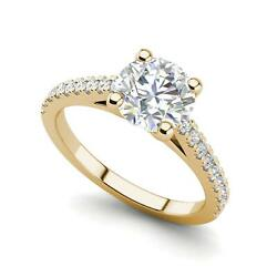 Pave Cathedral 2 Carat Si1/f Round Cut Diamond Engagement Ring Yellow Gold