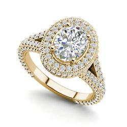Pave Halo 2.6 Carat Vs1/d Oval Cut Diamond Engagement Ring Yellow Gold