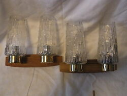 Pair Mid Century 60´s German Teak And Bubble Glass Wall Lamps Sconces O/a