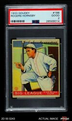 1933 Goudey 188 Rogers Hornsby Browns Psa 2 - Good