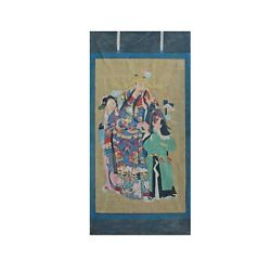 Chinese Large Vintage Canvas Color Ink God Of Fortune Painting Art Cs4309