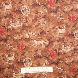 Country Western Fabric Native Legacy Drawing Petroglyph Brown Cotton YARD