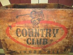 Antique Usa Country Club Ginger Ale Soda Wood Art Box Crate Lady Golf Club Sign