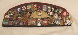 Vintage Military Russian Hat 44 Soviet Ussr Pins Army Officer, Sports, School