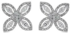 1.14ct Diamond 18kt White Gold Round And Marquise 4 Leaf Clover Love Stud Earrings