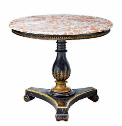 19TH CENTURY AND LATER EBONISED MARBLE TOP CENTER TABLE
